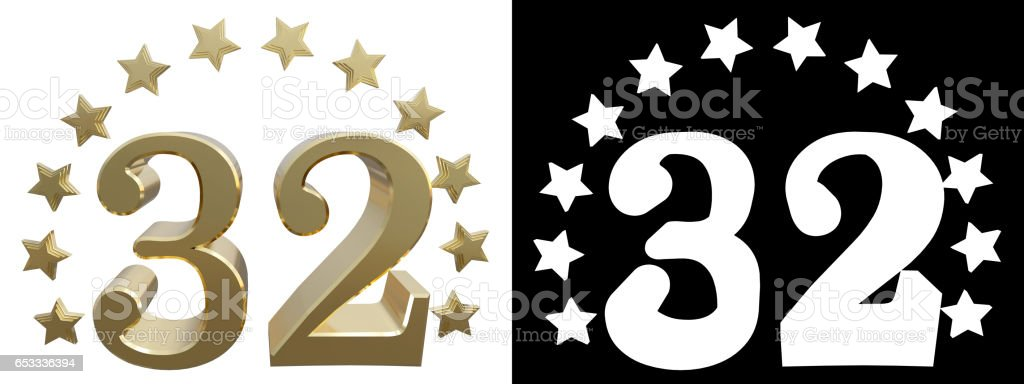 Gold number thirty two, decorated with a circle of stars stock photo