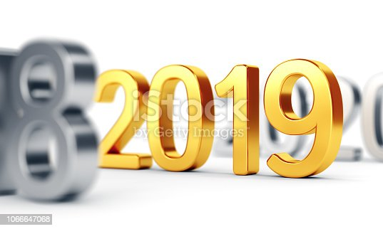 1051075452 istock photo Gold numbers 2019 on white. New year concept 1066647068
