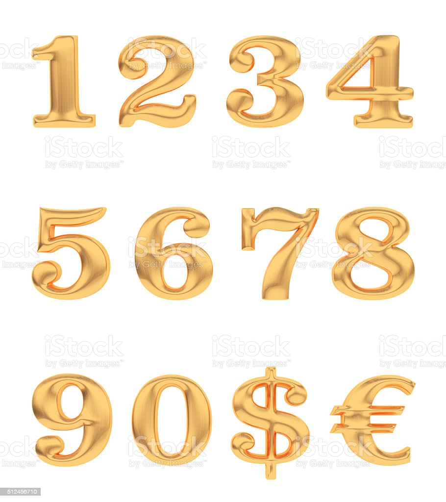 Gold numbers and currency signs stock photo