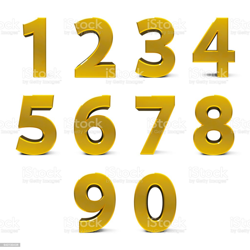 Gold numbers set stock photo
