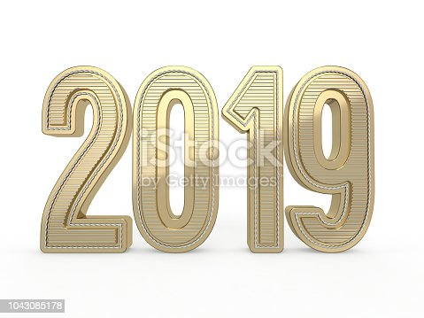 istock 2019 gold numbers text decoration. 3D 1043085178