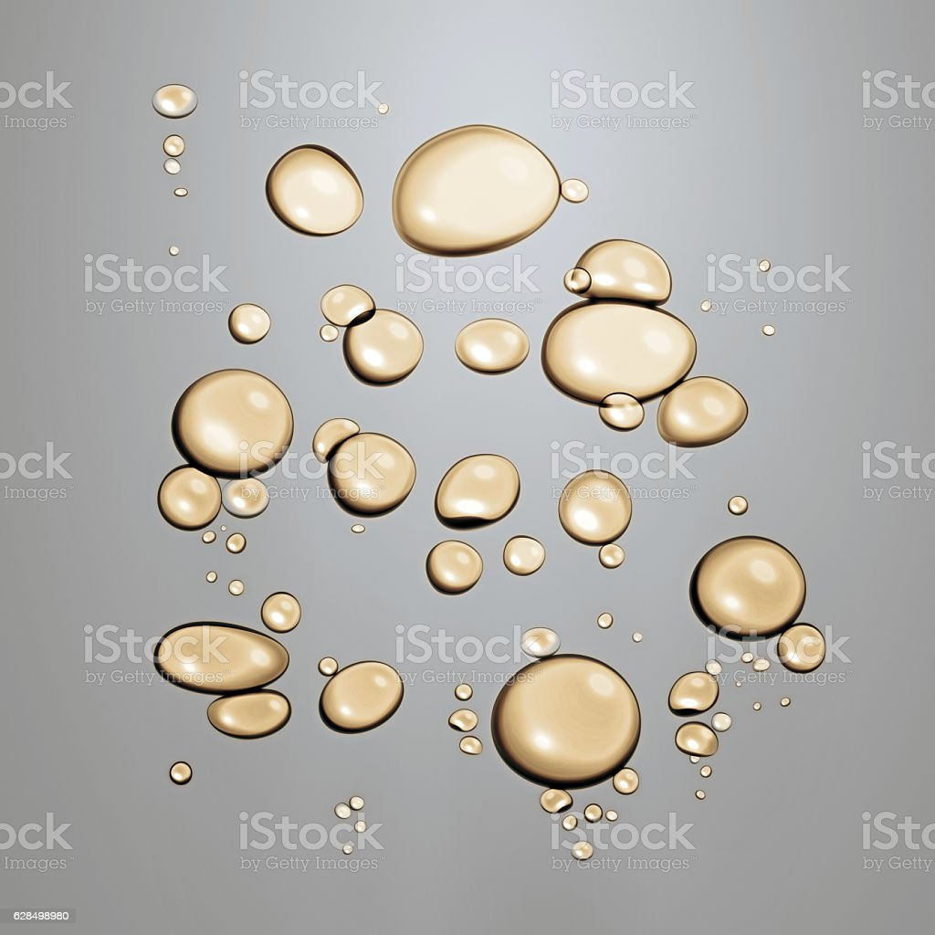 Gold oil bubbles or droplets dissolved in water stock photo