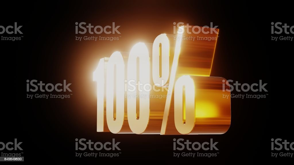 gold one hundred percent 100% 3d illustration stock photo