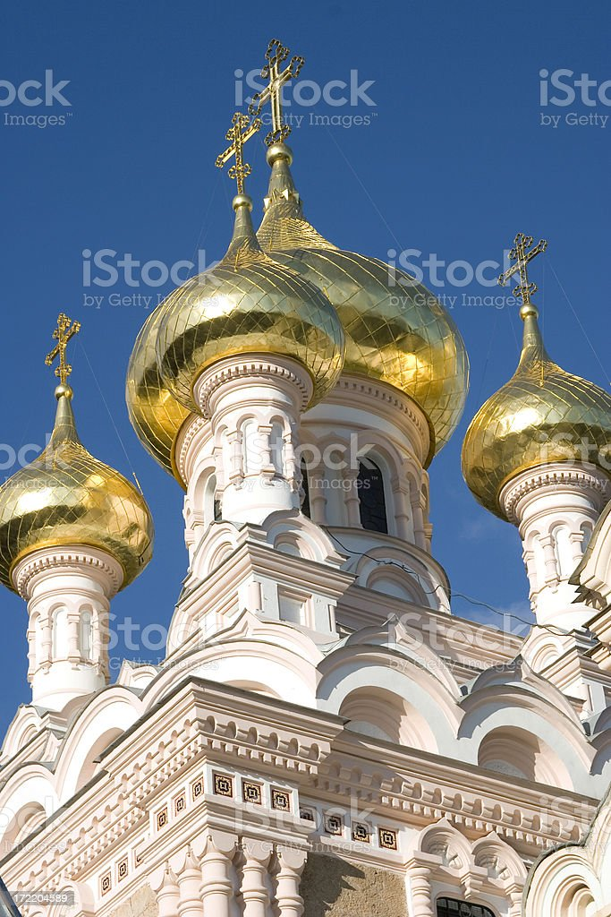 Gold onion domes stock photo