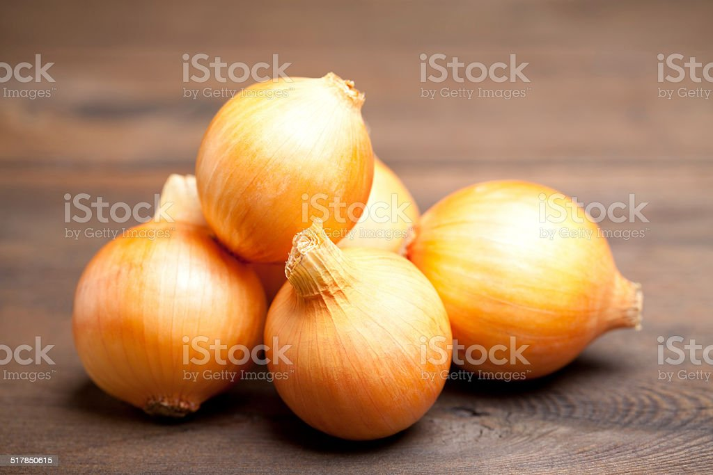 Gold onions stock photo
