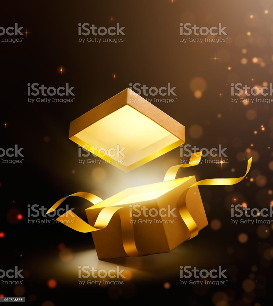 Gold open gift box with magical light