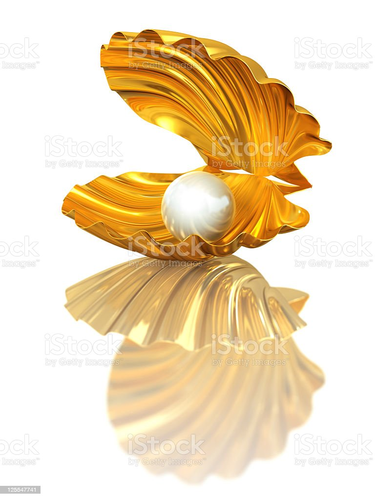 Gold Open Shell with Pearl royalty-free stock photo