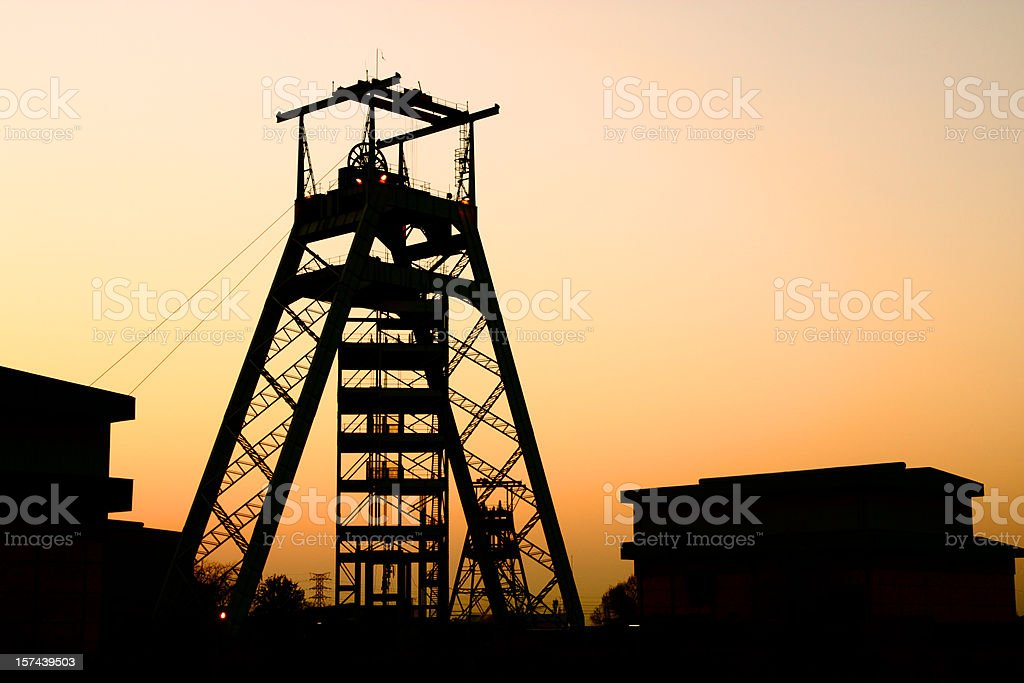 Gold or platinum mine head gear in Johannesburg South Africa stock photo