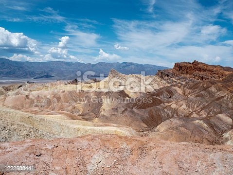 Gold, orange and brown layer hills of Zabriskie Point in the hot desert badlands of Death Valley National Park, California, USA