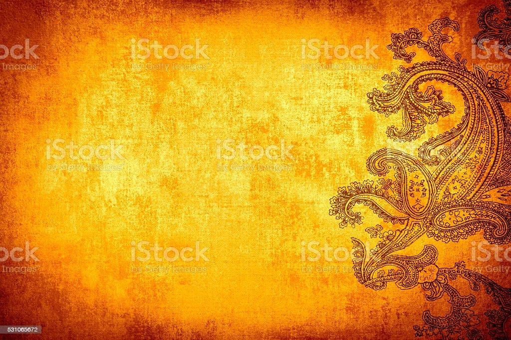 Gold Orange Paisley Background stock photo