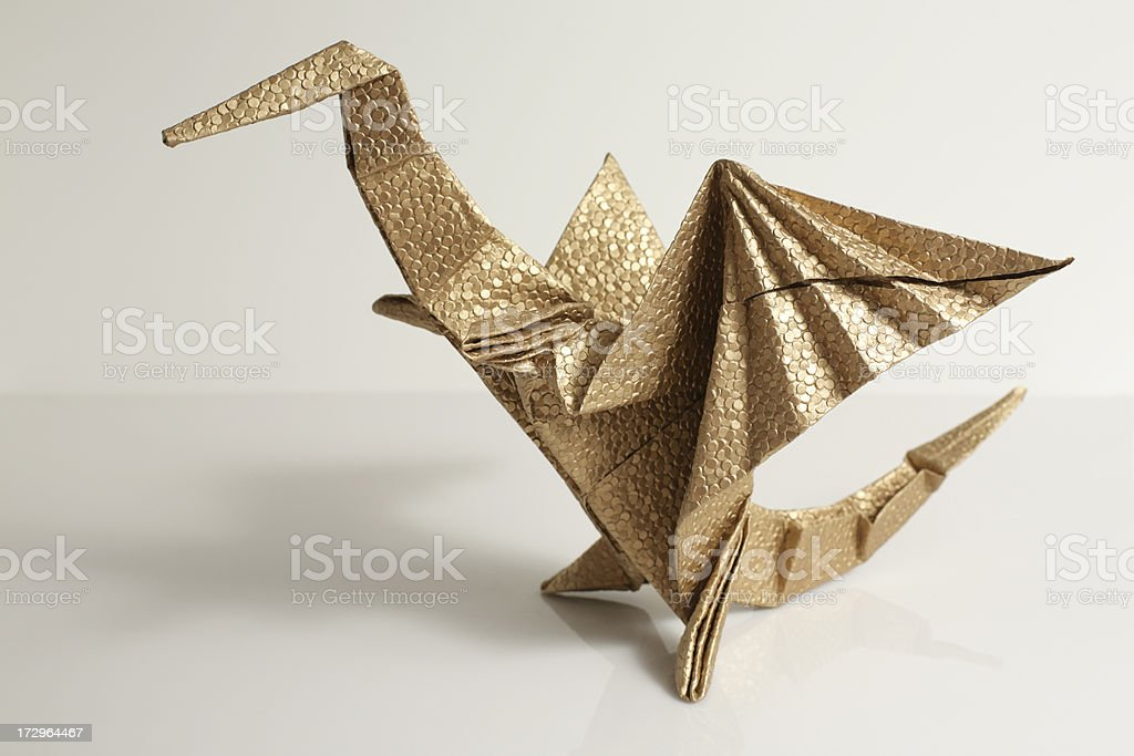 Gold Origami Dragon Paper Craft Stock Photo More Pictures Of
