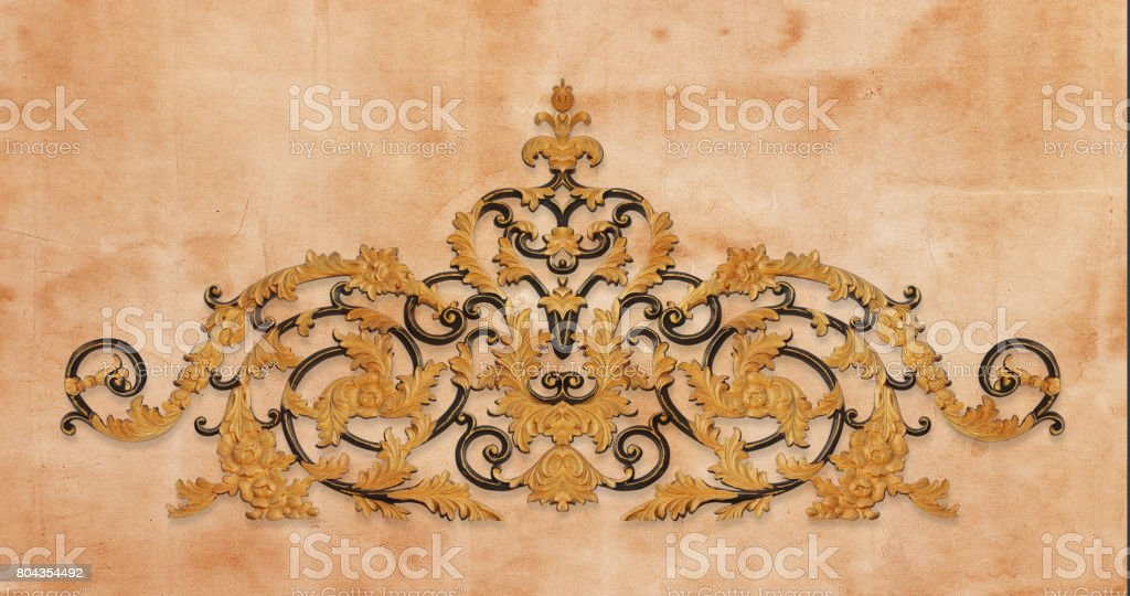 Gold ornament flower vintage pattern in old paper background stock photo