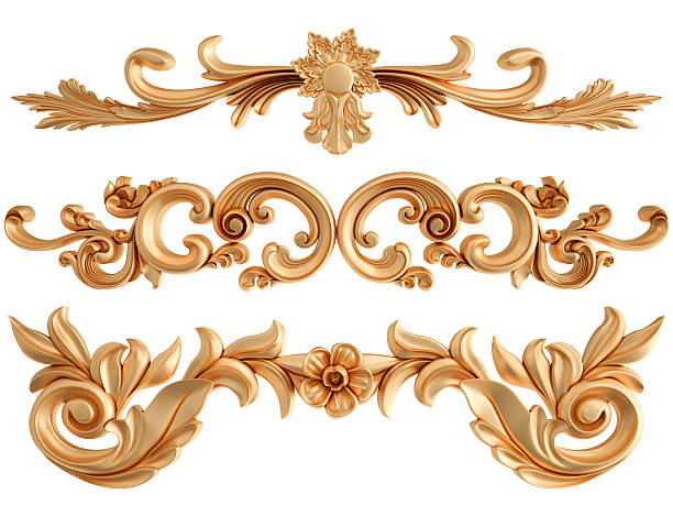 gold ornament on a white background. isolated - royalty stock photos and pictures