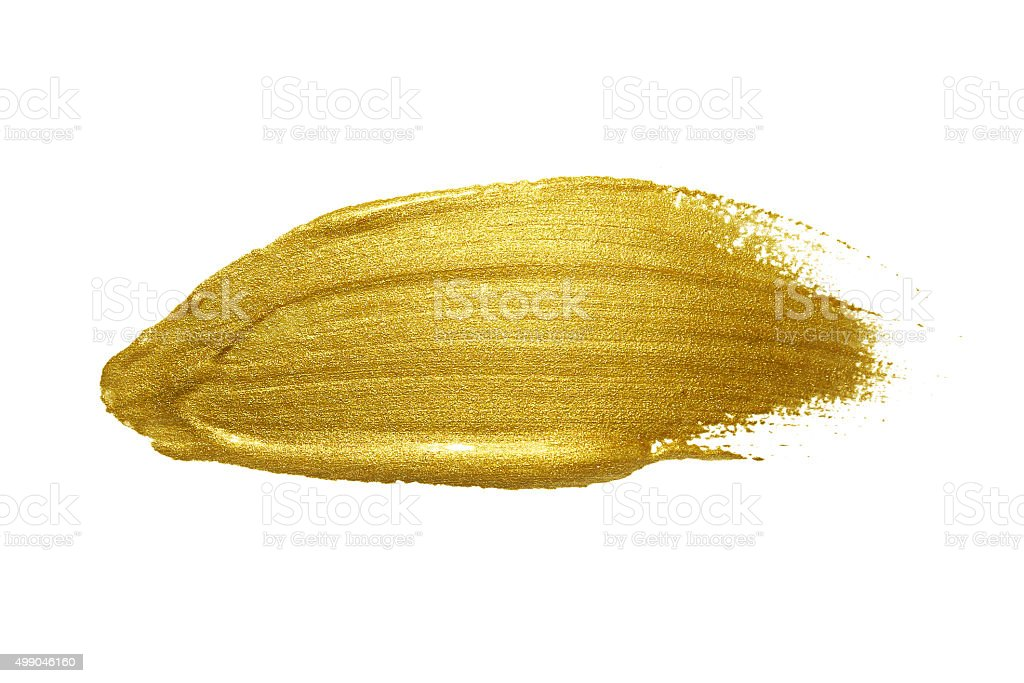 Gold paint brush stroke. stock photo