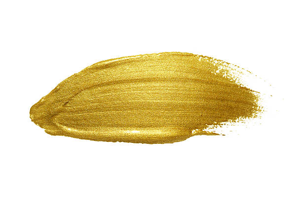 Gold paint brush stroke. Gold paint brush stroke. Abstract gold glittering textured art illustration. lacquered stock pictures, royalty-free photos & images