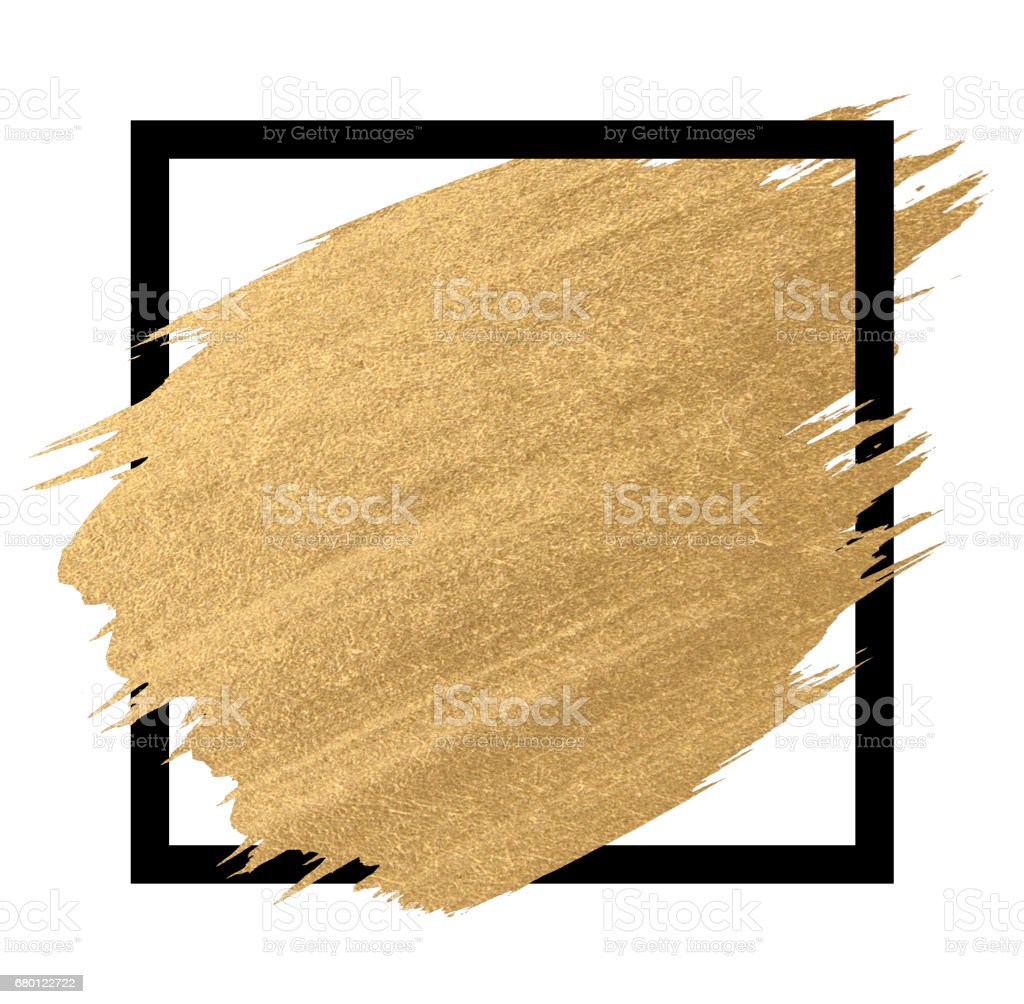 Gold paint in black square brush strokes for the background stock photo