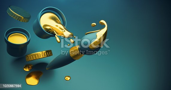 939851856 istock photo Gold paint with splashes and art brush 1020667594
