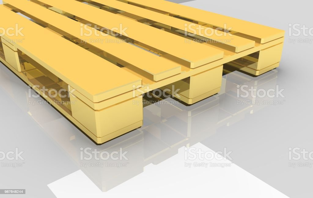 Gold pallet on a white background. стоковое фото