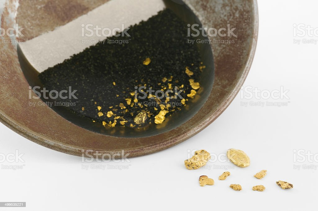 Gold pan with natural placer gold stock photo