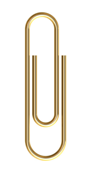 Gold paper clip on white background