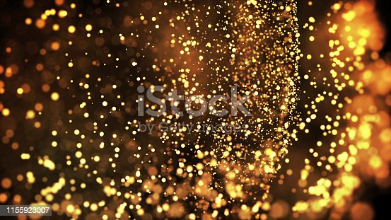 istock gold particles glisten in the air, gold sparkles in a viscous fluid have the effect of advection with depth of field and bokeh. 3d render. cloud of particles. 40 1155923007