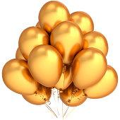 Gold party balloons Happy birthday luxury decoration