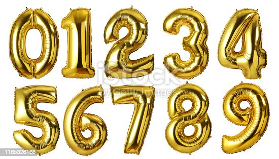 gold foil numbers balloons isolated on white background.with clipping path