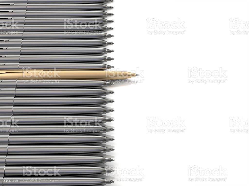 Gold pen standing out from chrome pens.3d rendering stock photo