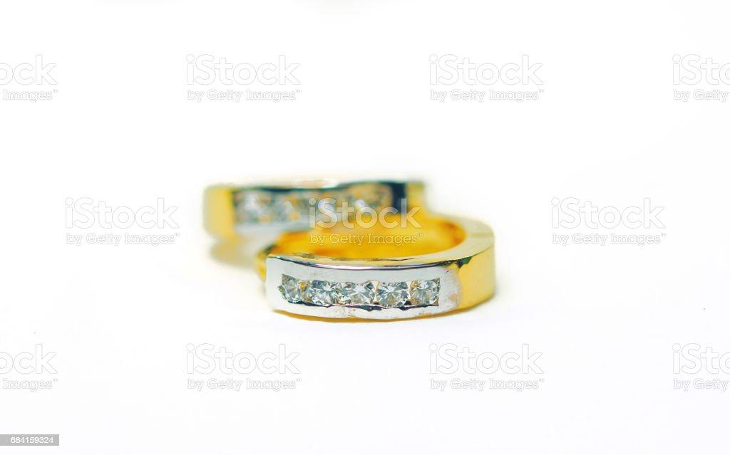 Gold pendant cameo jewelry with three diamond gems isolated white royalty free stockfoto