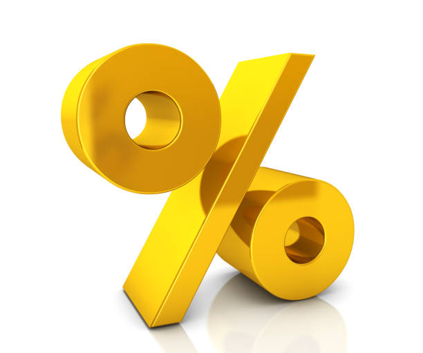 Gold Percentage Sign stock photo
