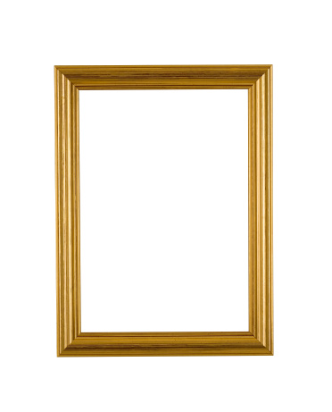 Gold picture frame in narrow modern stepped style, white isolated.
