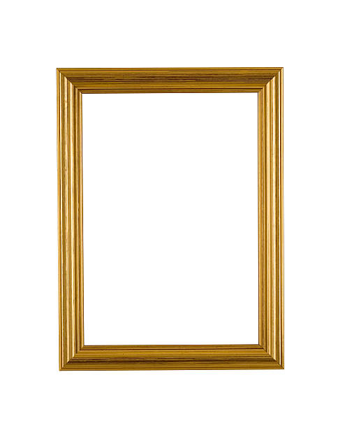 Gold Picture Frame in Narrow Modern Style, White Isolated stock photo