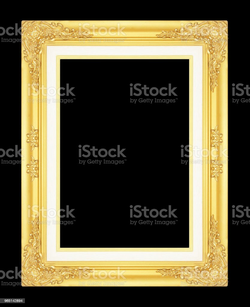 gold picture frame isolated on black background. royalty-free stock photo