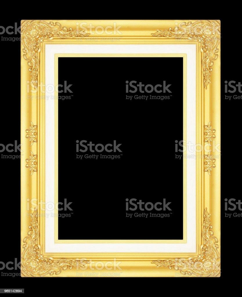 gold picture frame isolated on black background. zbiór zdjęć royalty-free