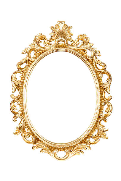 gold picture frame isolated on white background - baroque stock photos and pictures