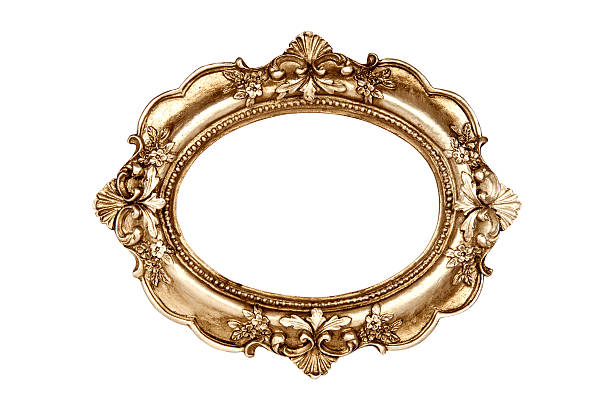 gold picture frame isolated on white background - ellipse stock photos and pictures