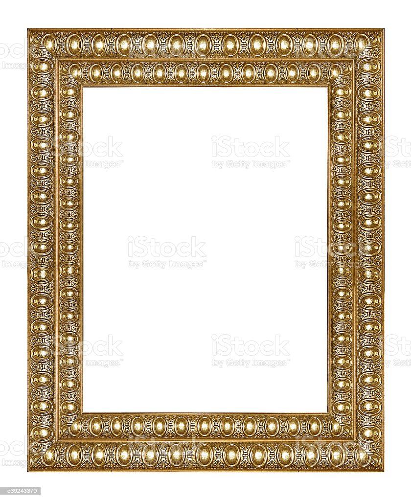 Gold picture frame isolated on white background royalty-free stock photo