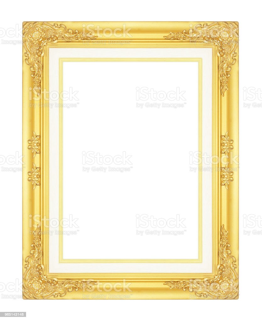gold picture frame isolated on white background. zbiór zdjęć royalty-free
