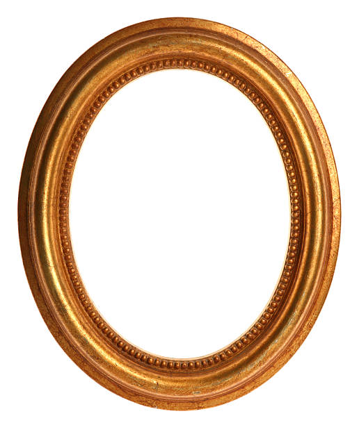 gold picture frame - ellipse stock photos and pictures