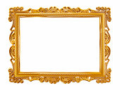 Gold picture frame isolated on pure white.Similar images: