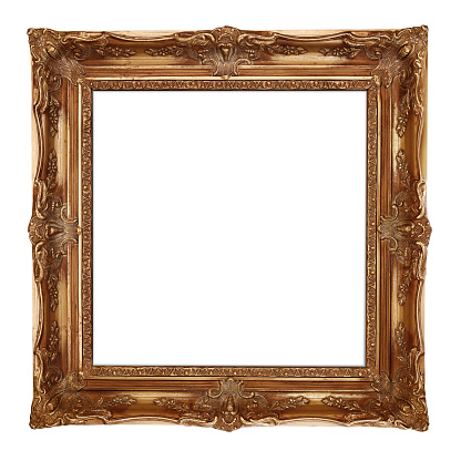 Gold picture frame, isolated on white background