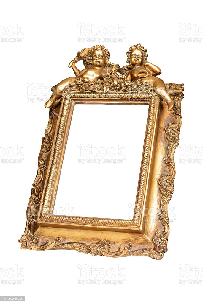 Gold picture frame with cupid stock photo