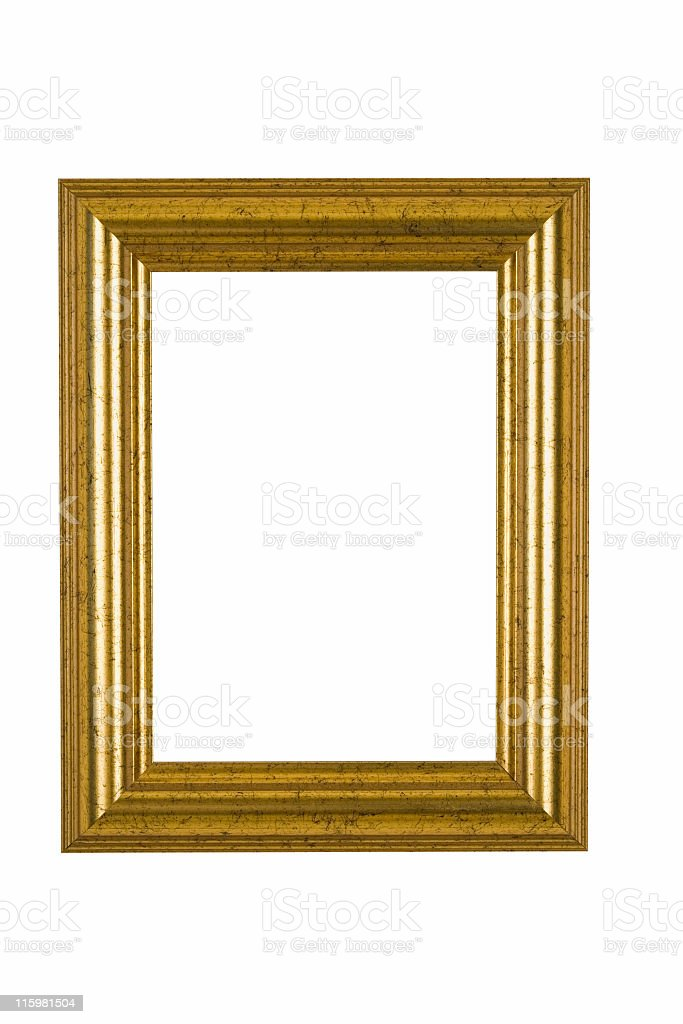 Gold Picture Frame with Flecked Finish, White Isolated stock photo