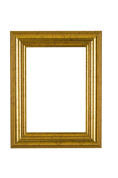 gold picture frame with flecked finish, white isolated - intricacy stock pictures, royalty-free photos & images