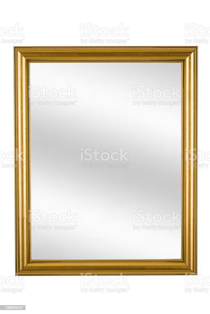 Gold Picture Frame with Mirror, Narrow Modern, White Isolated stock photo