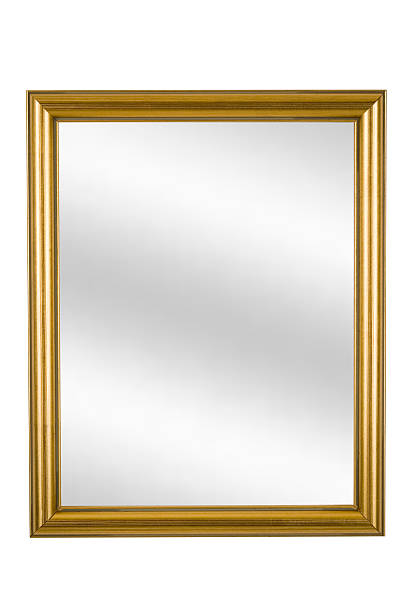 Gold Picture Frame with Mirror, Narrow Modern, White Isolated Gold picture frame with digital mirror inserted, narrow modern, white isolated background. mirror stock pictures, royalty-free photos & images