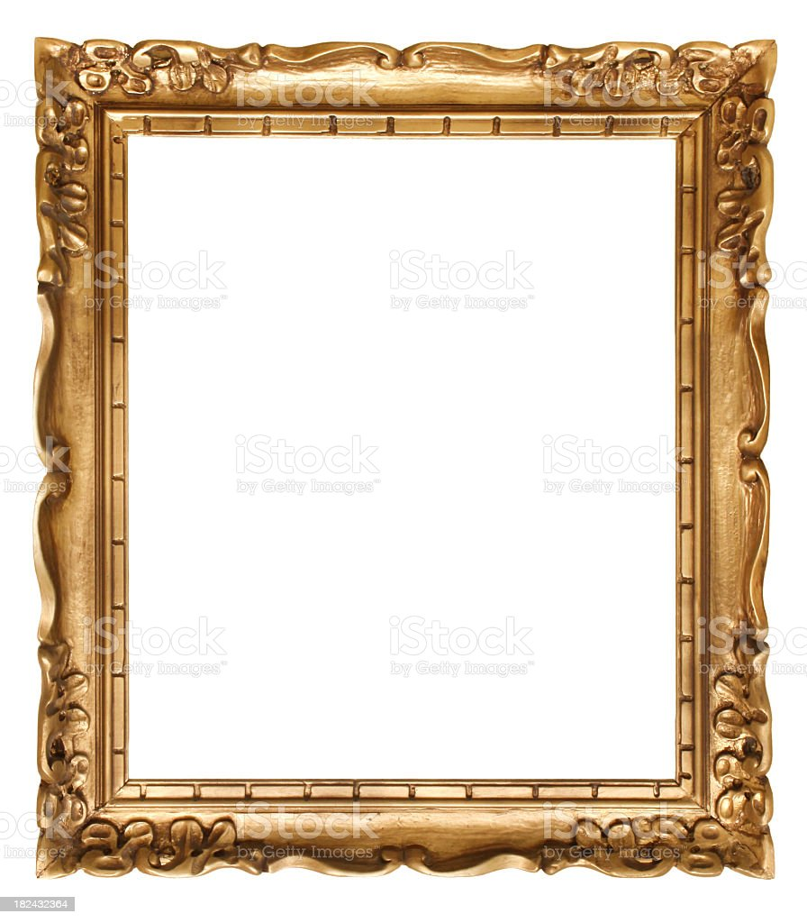 Gold picture frame without a painting stock photo