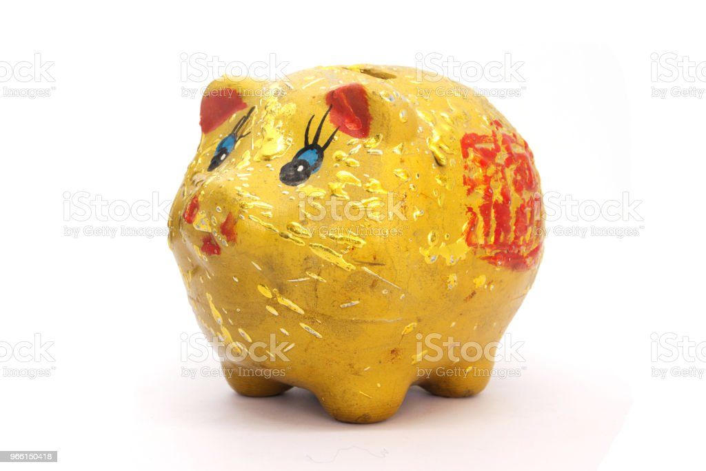 gold piggy bank on white background - Royalty-free Bank Deposit Slip Stock Photo