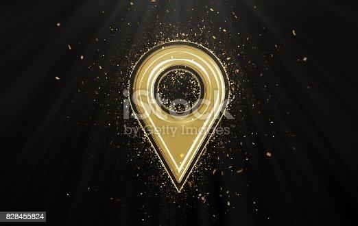 Gold Pin icon with confetti