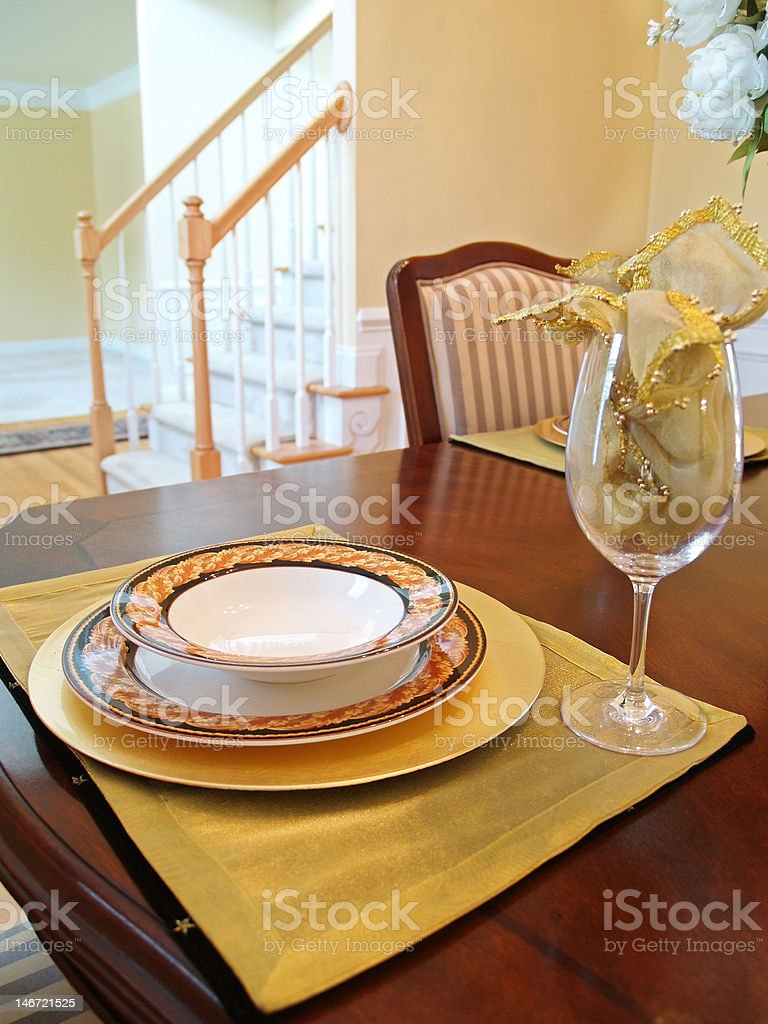 Gold Place Setting royalty-free stock photo